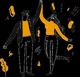 Homme et femme qui se tapent dans la main